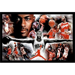 michael jordan collage open arms framed photographic print - Michael Jordan Wings Poster Framed