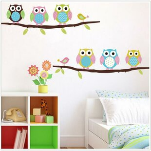 Charming 2 Branches Of Owls Wall Decal