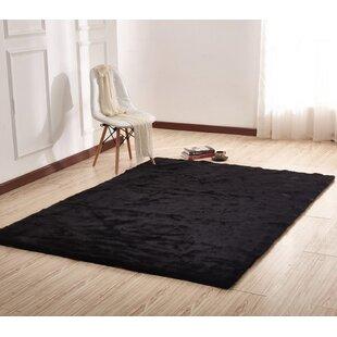 black bedroom rug cheap demaris faux fur black area rug rugs for sofa wayfair