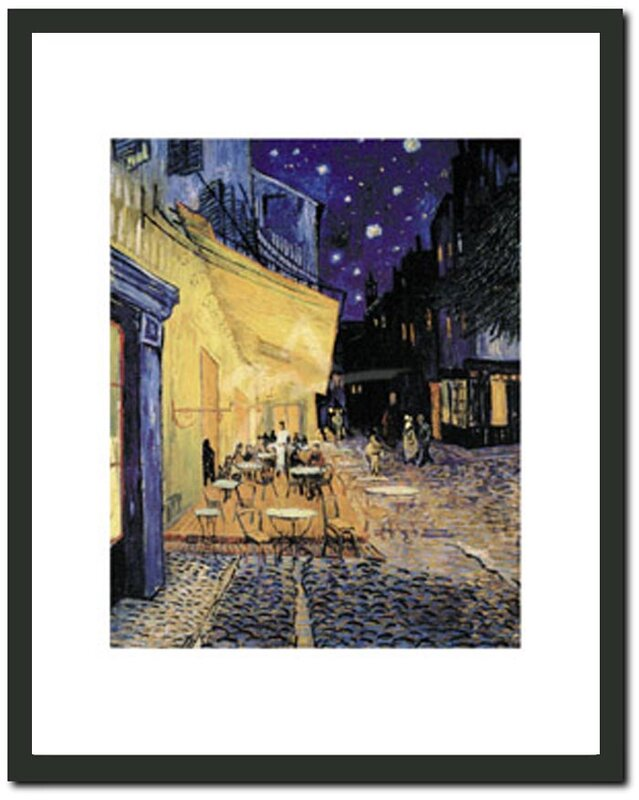 'Café Terrace at Night' by Vincent Van Gogh Framed Painting Print