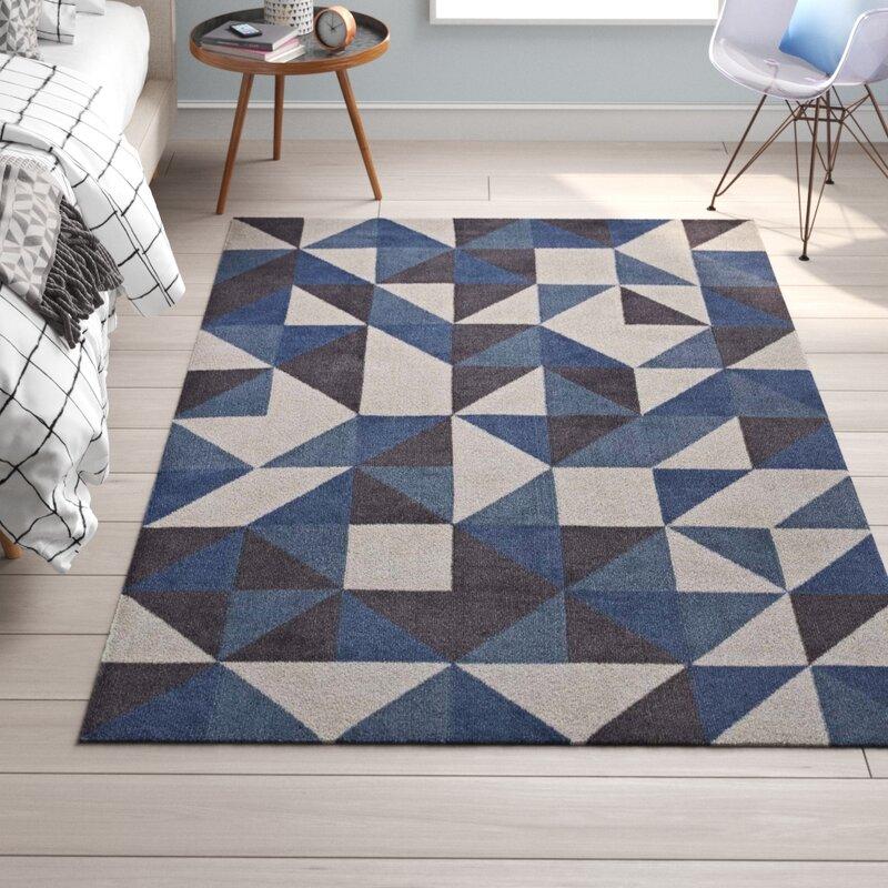 Trule Teen Babcock Geometric Triangle Mosaic BlueWhiteGray Area Rug U0026  Reviews | Wayfair
