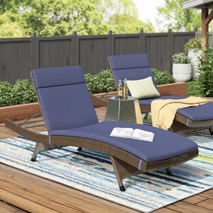 ziyamet reclining chaise lounge with cushion set of 2 - Patio Lounge Chairs