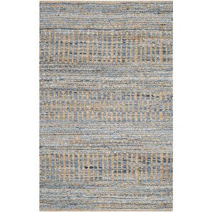 Portia Hand-Woven Natural/Blue Area Rug