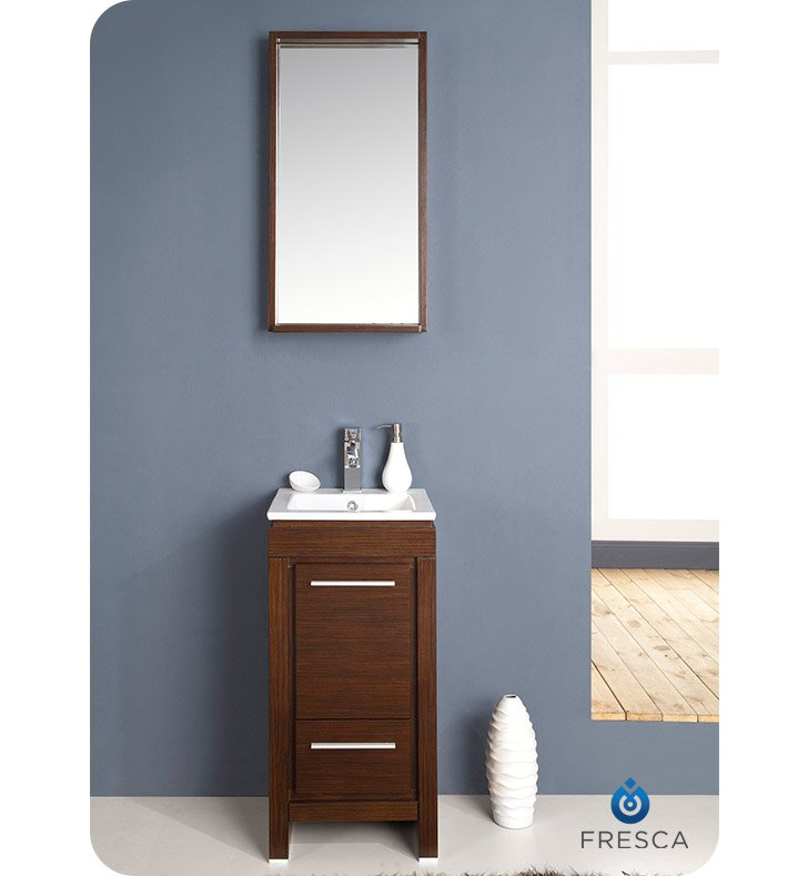 Allier 16 Single Small Modern Bathroom Vanity Set With Mirror