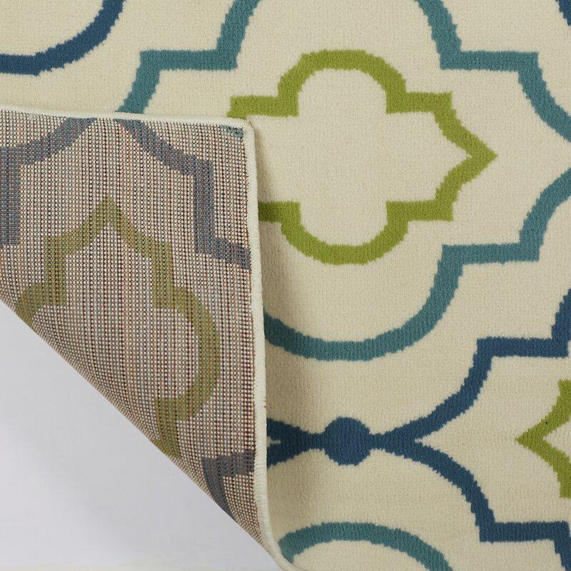 Green Navy Rug: Zipcode Design Lucia Ivory/Green/Navy Blue Indoor/Outdoor