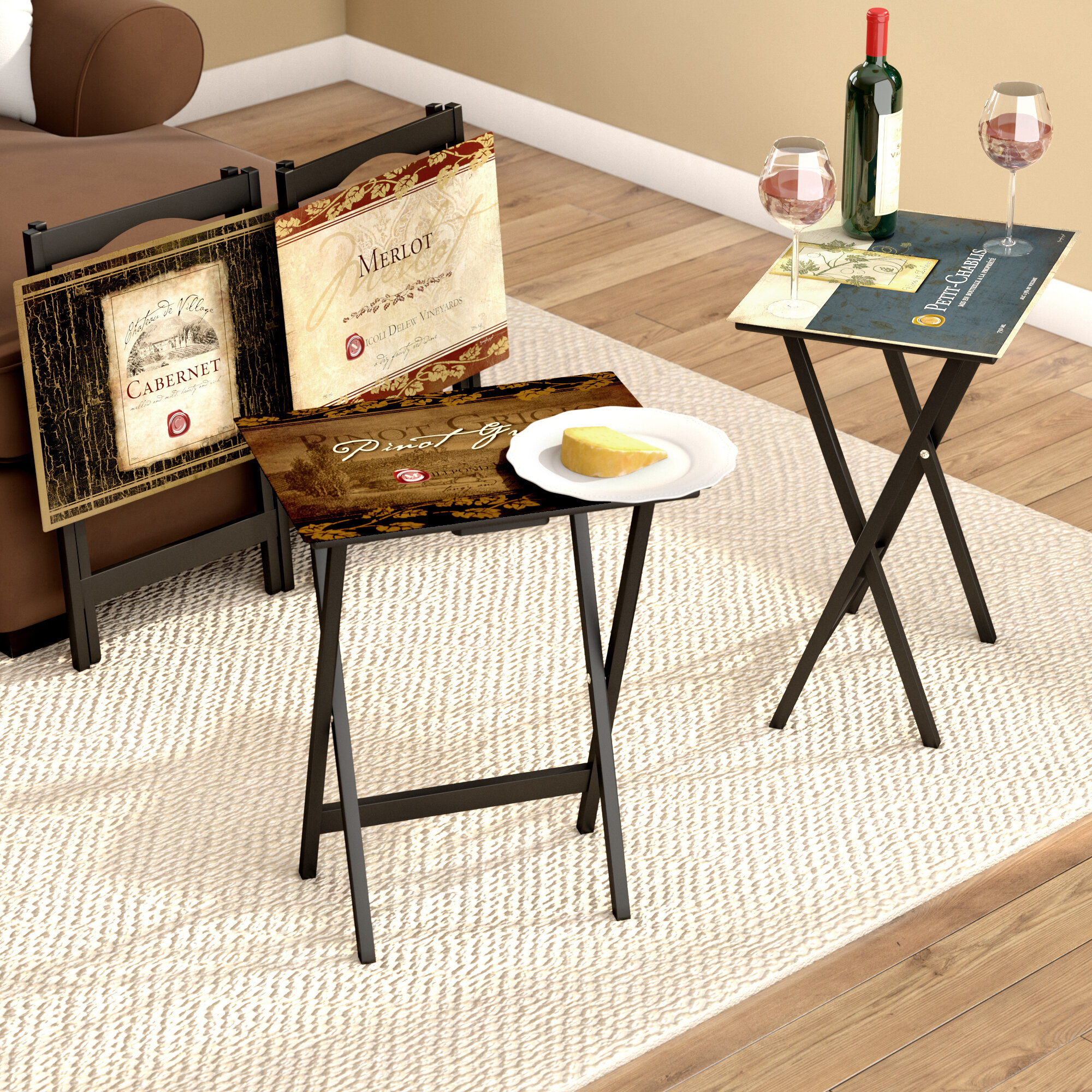 Darby Home Co Armetta Rustic Wine Labels Tv Tray With Stand
