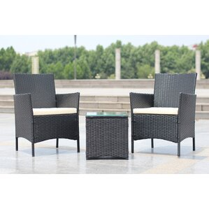 Walker Handmade 3 Piece Compact Outdoor/Indoor Garden Patio Furniture Set  Black PE Rattan