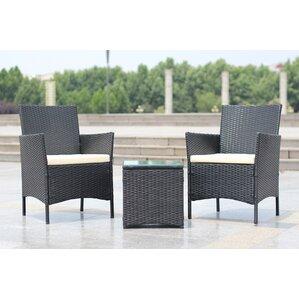 walker handmade 3 piece compact outdoorindoor garden patio furniture set black pe rattan