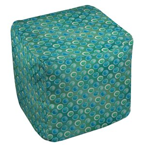 Aqua Bloom Dots Ottoman by Manual Woodworkers & Weavers