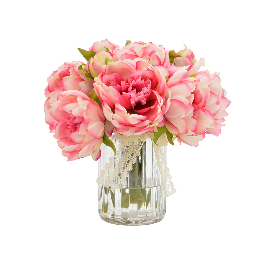 One allium way bouquet of peonies in ribbed glass vase reviews one allium way bouquet of peonies in ribbed glass vase reviews wayfair reviewsmspy
