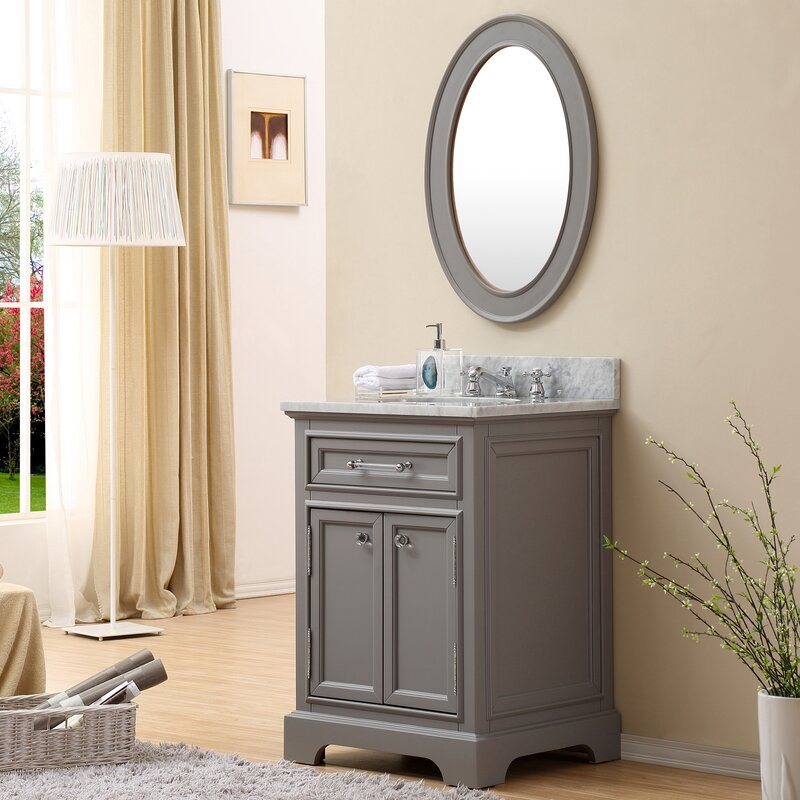 Colchester 24  Single Sink Bathroom Vanity Set with Mirror Grey Darby Home Co