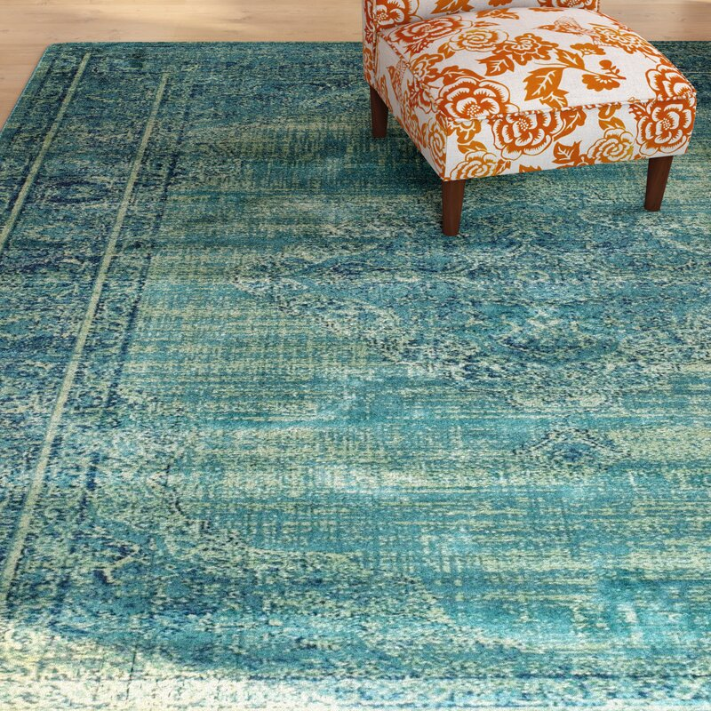 Makenna Loomed Turquoise Blue Area Rug