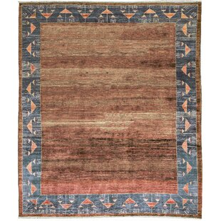 One Of A Kind Hand Knotted Wool Burnt Orange Gray Area Rug