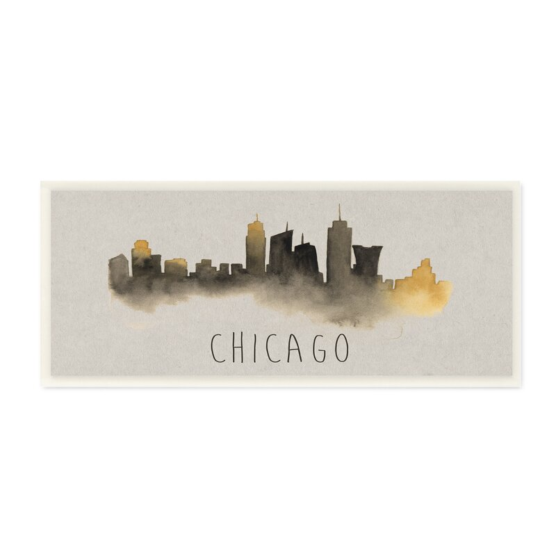 stupell industries chicago skyline silhouette graphic art print
