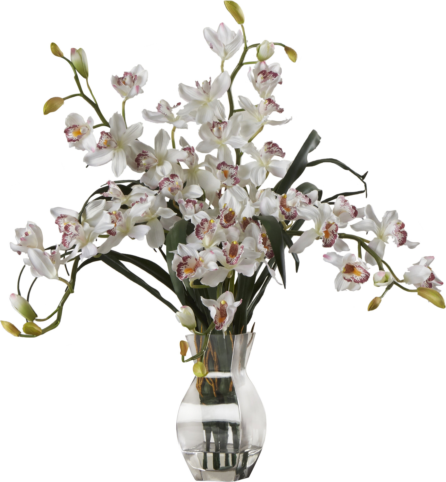 World Menagerie Orchid Silk Flower Arrangement In White Reviews Wayfair