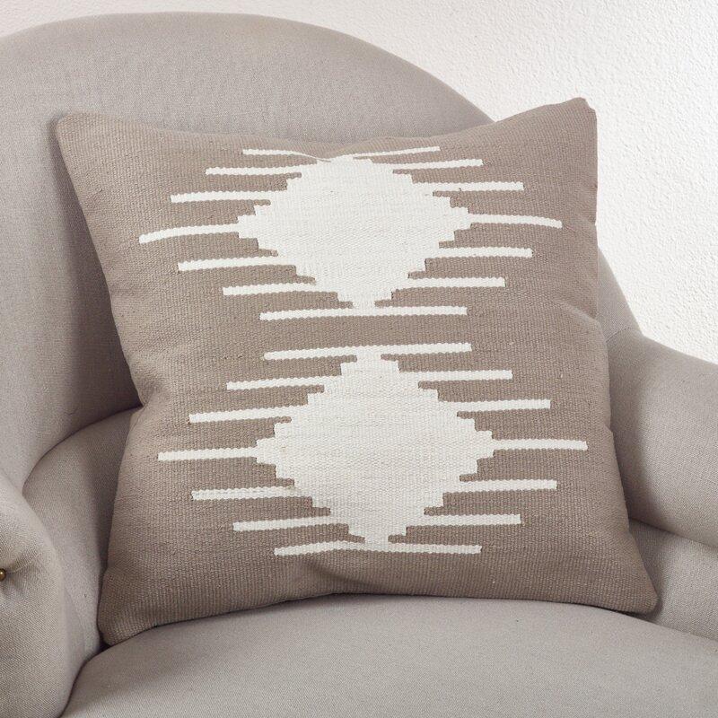 Saro Kilim Cotton Throw Pillow & Reviews