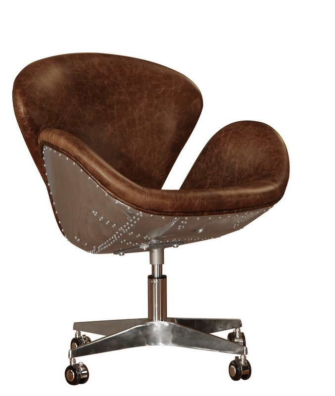 lazzaro leather timeless bomber leather desk chair & reviews | wayfair