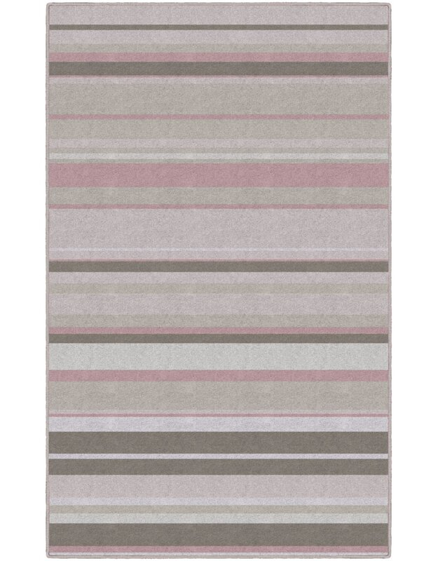 Winston Porter Keyla Traditional Pastel Striped Pink Area Rug, Size: Rectangle 76 x 10