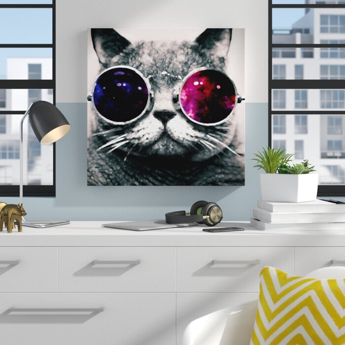 Top Zipcode Design Cat With Sunglasses Graphic Art on Wrapped Canvas  ZT62