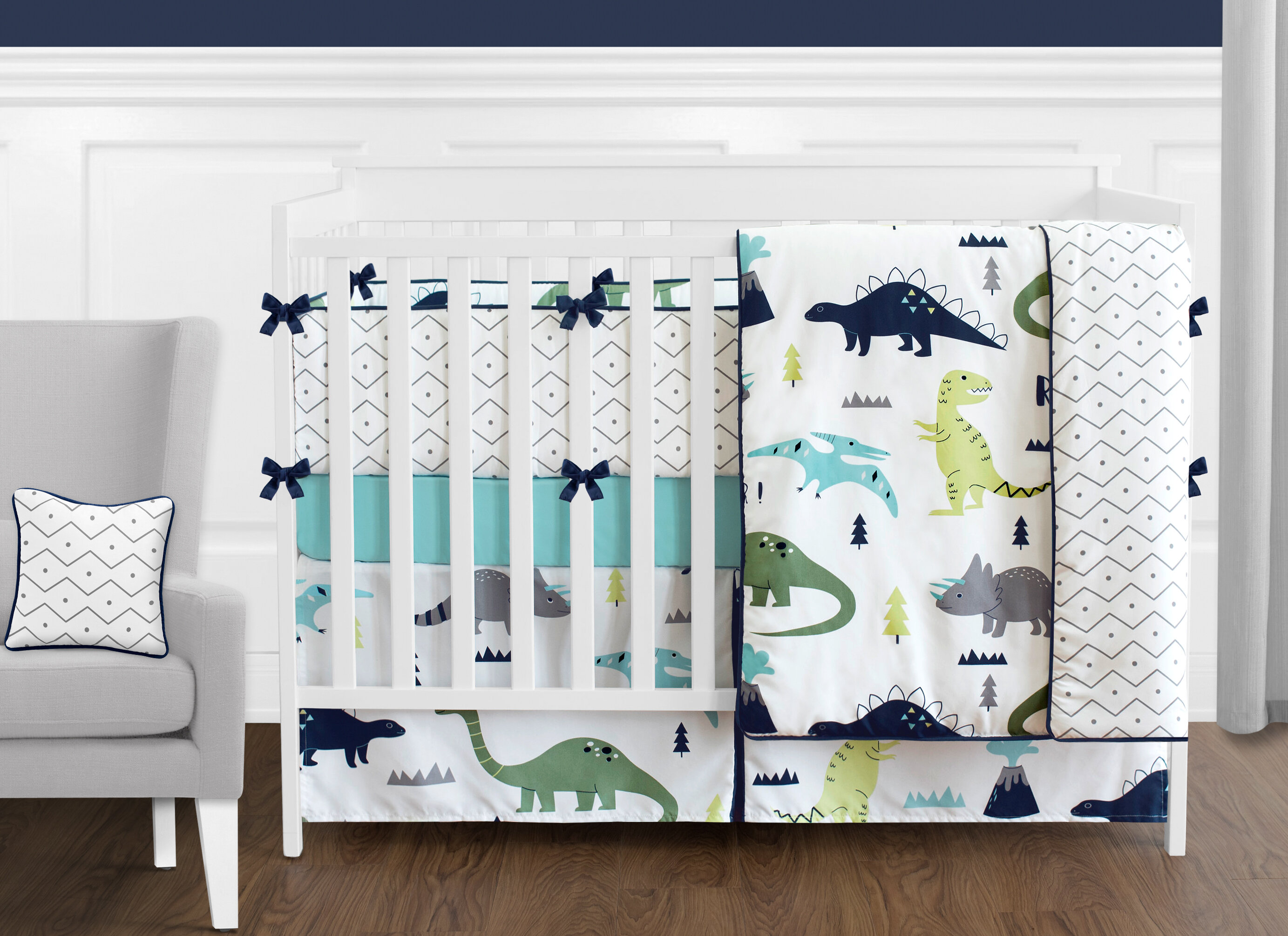 sweet jojo designs mod dinosaur piece crib bedding set reviews wayfair jpg 2766x2011 christmas crib sheets
