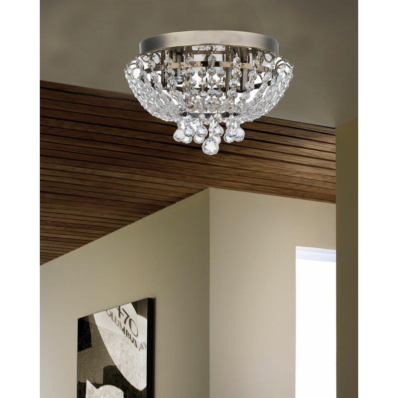 Rosdorf Park Aguilera Brass Round Bijou Crystal Ceiling 2 Light