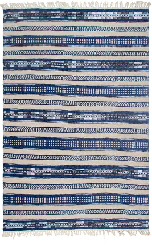 Estate Hand Woven Blue/White Indoor/Outdoor Area Rug