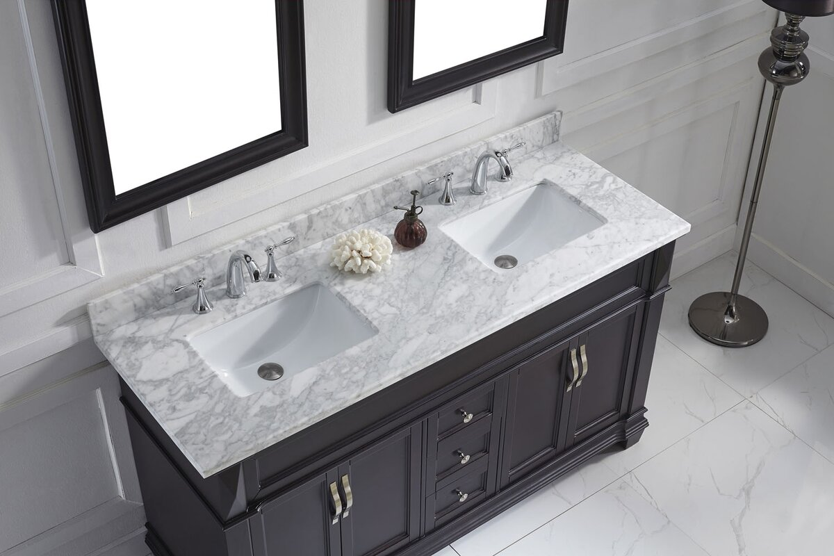 Victoria 61 Double Bathroom Vanity Set With White Marble Top And Mirror