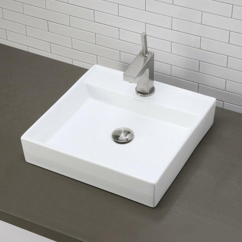 Clically Redefined Aurelia Ceramic Square Vessel Bathroom Sink