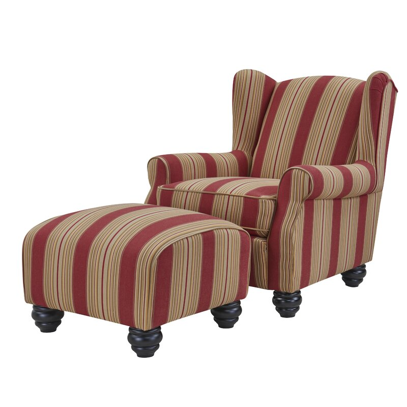 Charmant Brougham Wingback Chair And Ottoman