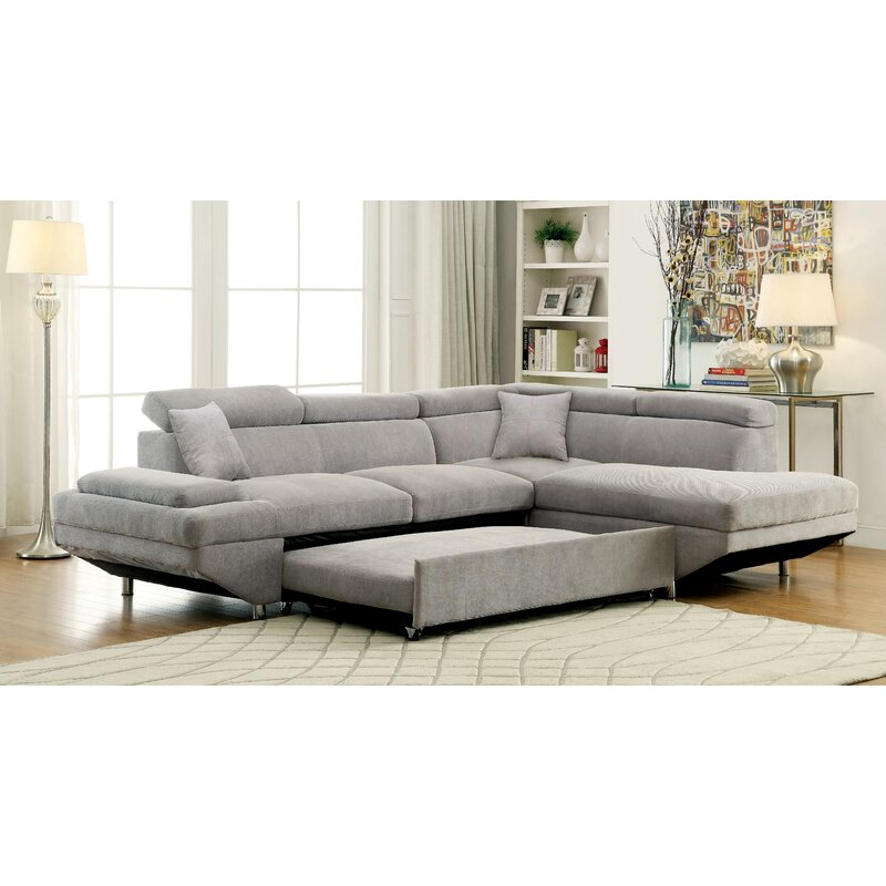 20 Best Collection Of White Leather Corner Sofa: Orren Ellis Aprie Sleeper Sectional Collection & Reviews