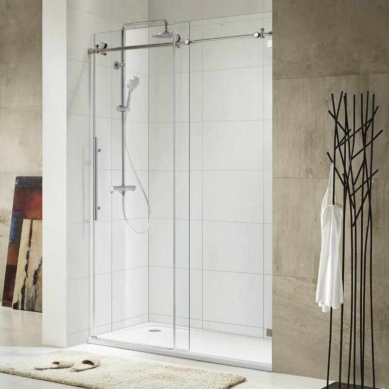 Wet Republic Trident Lux 60\'\' x 76\'\' Single Sliding Frameless Shower ...
