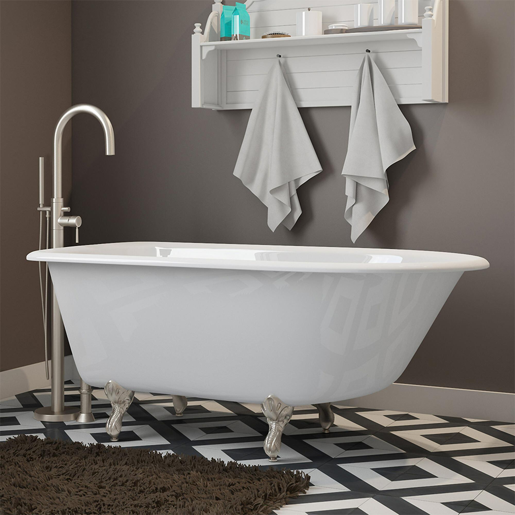 """Cambridge Plumbing 55"""" x 30"""" Clawfoot Bathtub in Wall Mount"""