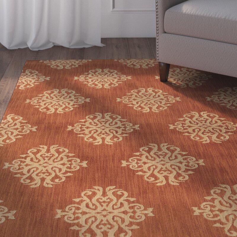 Alcott Hill Alfreda Orange Area Rug, Size: Rectangle 78 x 1010