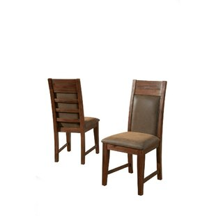 Willeford Slatted High Back Genuine Leather Upholstered Dining Chair (Set of 2)