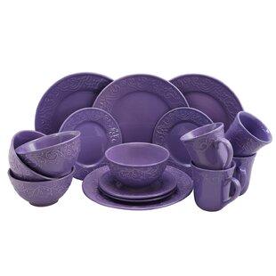 Whyte 16 Piece Dinnerware Set Service for 4  sc 1 st  Wayfair & Purple Dinnerware Sets You\u0027ll Love   Wayfair