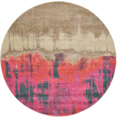Wrought Studio Wynn Traditional Pink Area Rug Rug Size: Round 6'