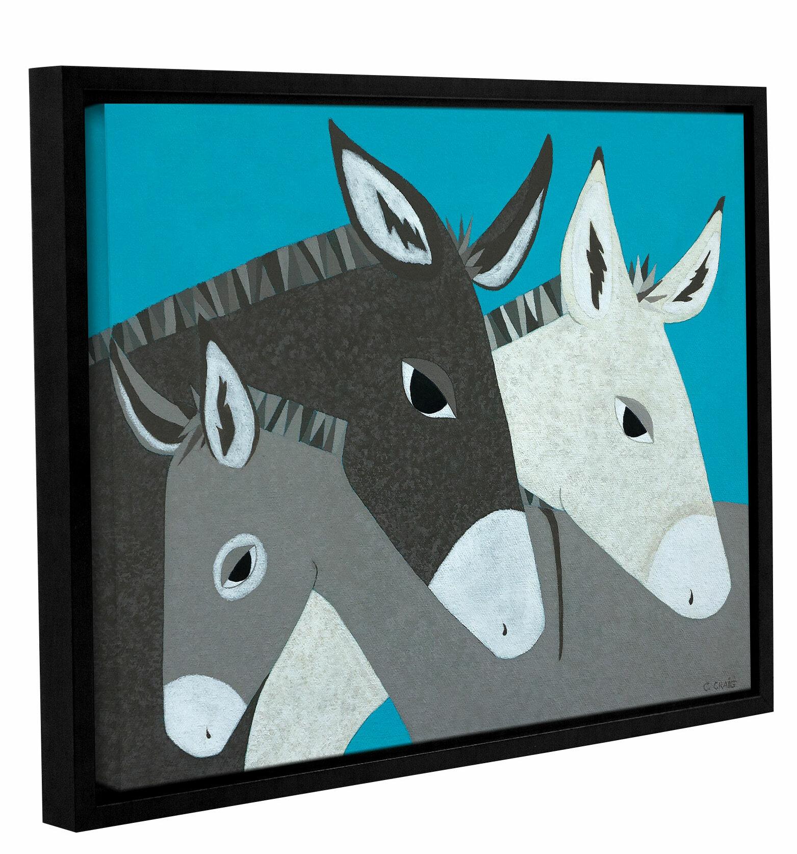 d53e854da8 Ebern designs donkey family framed graphic art print on canvas wayfair jpg  1563x1673 Streamlined donkey