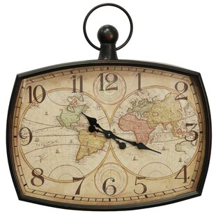 oversized icenhour aged geographic map wall clock