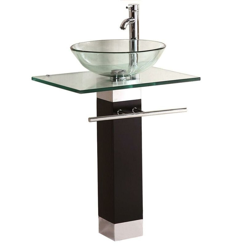 Kokols glass circular vessel bathroom sink with faucet for Are vessel sinks out of style