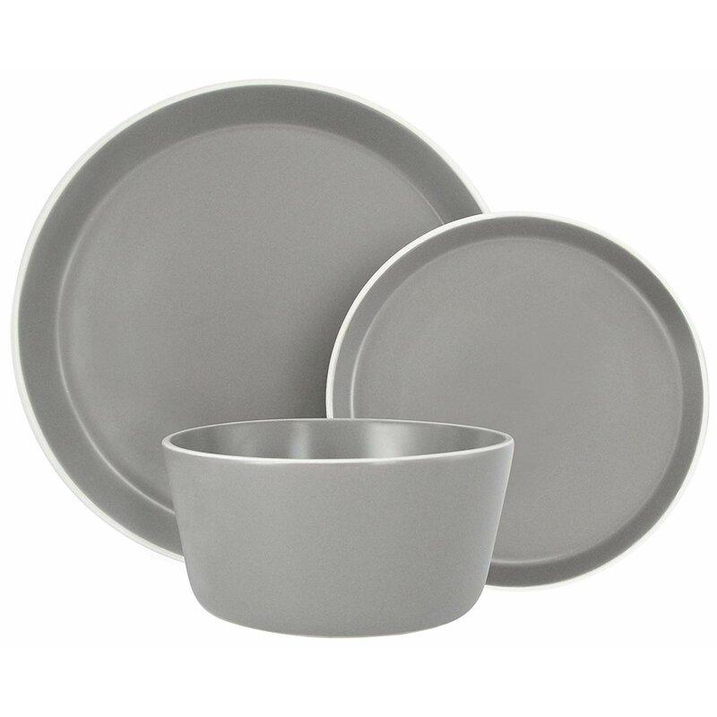 Melange Stoneware 18 Piece Dinnerware Set Moderno Grey Service