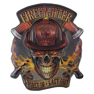 Firefighter First In Last Out Embossed Metal Sign Wall Decor