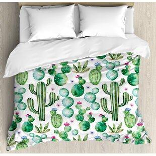 mexican texas cactus plants spikes cartoon like art print duvet set - Cactus Bedding