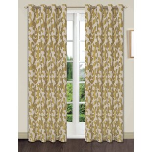 Beachum Extra Wide Damask Room Darkening Grommet Single Curtain Panel
