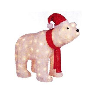 26 lighted tinsel polar bear wearing santa hat christmas yard art decoration lighted display