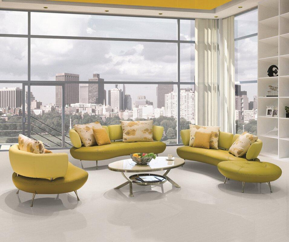 Orren Ellis Palomo 4 Piece Leather Living Room Set