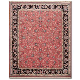 One Of A Kind Ernesha Traditional Persian Hand Knotted 7 9 X 10 Wool Pink Navy Beige Area Rug