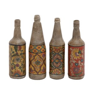 4 Piece Hand Painted Terracotta Bottle Sculpture Set