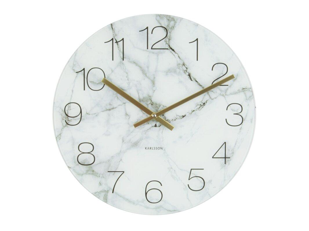 auten round glass marble wall clock