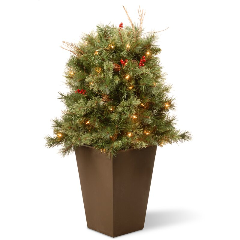 Glistening Porch Bush 36' Pine Artificial Christmas Tree