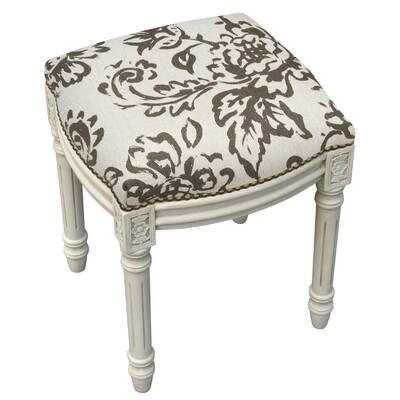 Amalda Toile Linen Upholstered Vanity Stool With Nailhead Reviews